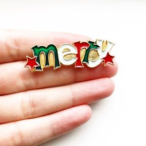 Vintage gold & enamel 'Merry' holiday pin